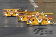 All three Penske Racing DHL Porsches battle for position at Petit Le Mans