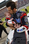 Sam Hornish Jr. and his daughter Addison at Chicagoland